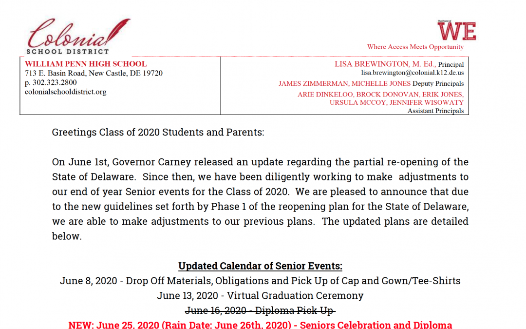 Graduation 2020: June 25 Update
