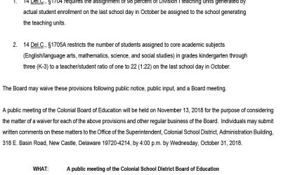 Notice of Public Meeting and Written Input Process: Class Size Waiver