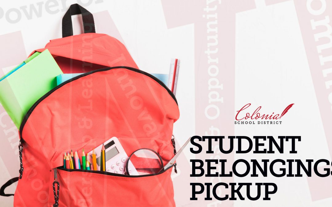 Student Belonging Pick up dates and times